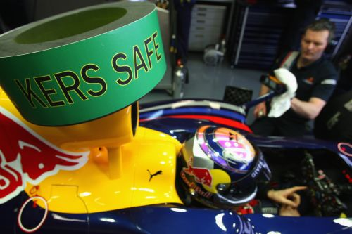 The warning sign on the Red Bull Racing RB5 car of Sebastian Vettel signals that the KERS energy system is disabled