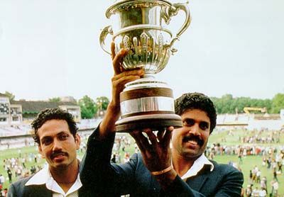 Kapil Dev hoists the limited-overs' World Cup in 1983