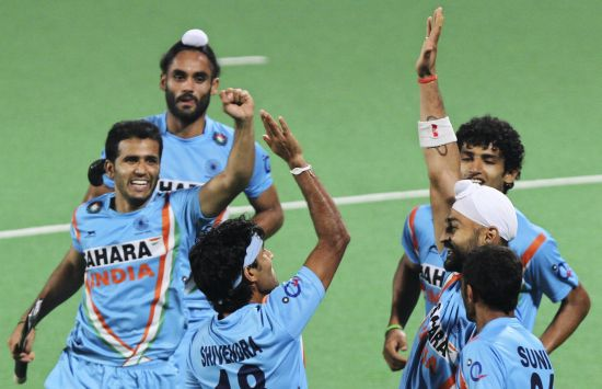 Indian players celebrates a goal