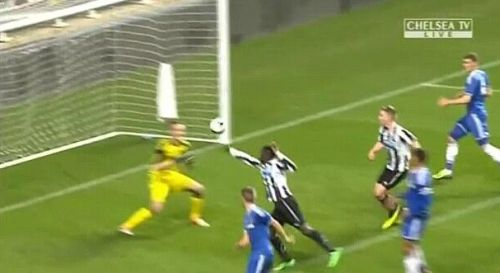 A television grab of Newcastle's Olivier Kemen  scoring against Chelsea in FA Youth Cup