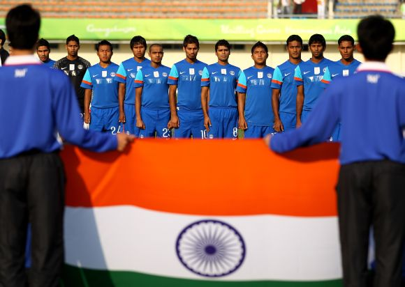 The India team sing their national anthem