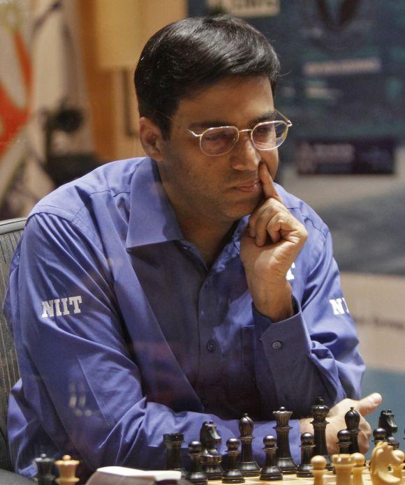 Viswanathan Anand ponders a move.