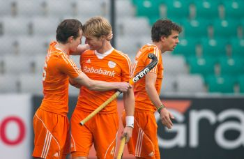 The Dutch celebrate a goal