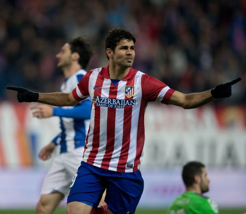 Diego Costa of Atletico de Madrid celebrates scoring their opening goal during the La Liga match between Club Atletico de Madrid and RCD Espanyol
