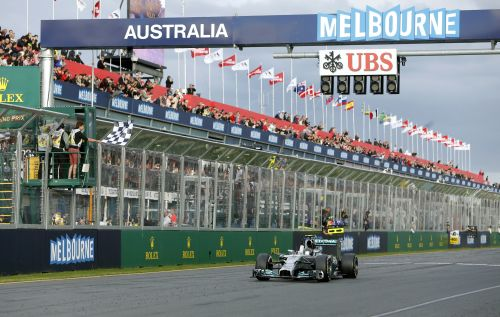Mercedes Formula One driver Nico Rosberg of Germany crosses the finish line to win the Australian F1 Grand Prix