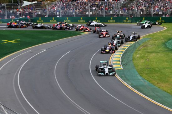 Nico Rosberg of Germany and Mercedes GP leads the field into the first corner as in the background Felipe Massa of Brazil and Williams and Kamui Kobayashi of Japan