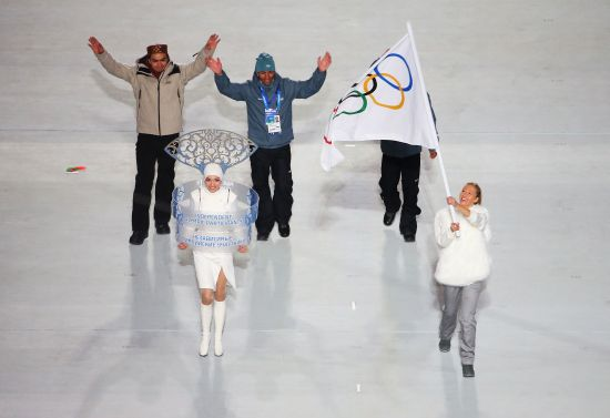 Three athletes took part in the opening ceremony under the IOC flag