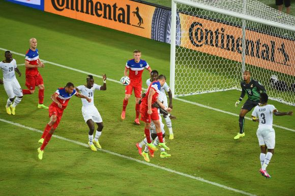 John Brooks of the United States scores his team's second goal on a header past Adam Kwarasey of Ghana