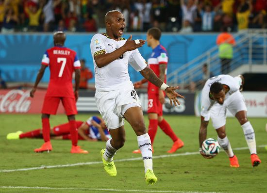 Andre Ayew celebrates after scoring the equaliser