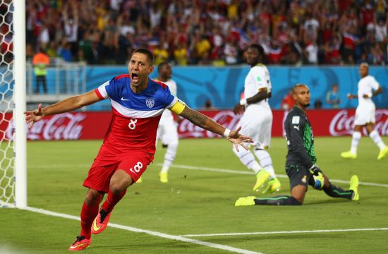 Clint Dempsey of the United States reacts after scoring his team's first goal past goalkeeper Adam Kwarasey of Ghana