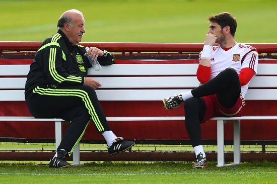 Iker Casillas and Vicente Del Bosque