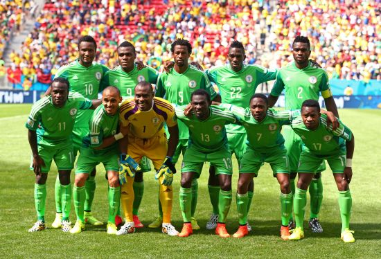 Nigeria pose for a team photo prior to the 2014 FIFA World Cup