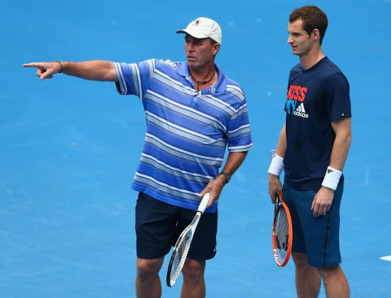 Andy Murray talks to his coach Ivan Lendl during a training session