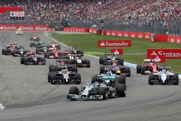 Nico Rosberg of Germany and Mercedes GP leads the field into the first corner during the German Grand Prix