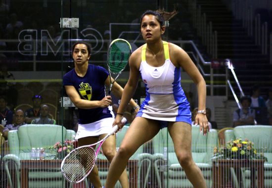 Dipika Pallikal of India in action against Raneem El Weleiley of Egypt during the Round of 16th matches of the CIMB Women's World Championship