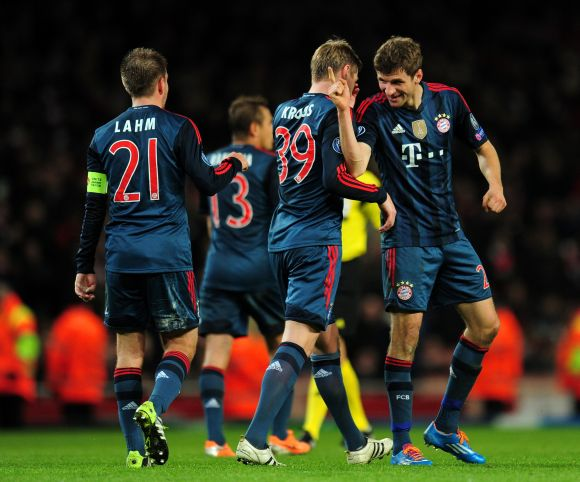 Bayern Munich players celebrate after scoring