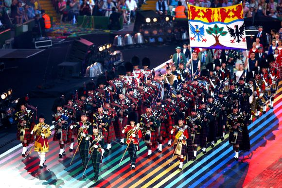 The Pipes and Drums of The Scottish Regiments perform during the Opening Ceremony for the Glasgow 2014 Commonwealth Games