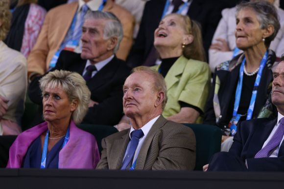 Former Australian tennis players Ken Rosewall and Rod Laver watch the semifinal match between Roger Federer of Switzerland and Rafael Nadal of Spain