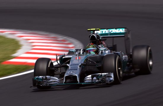 Nico Rosberg of Germany and Mercedes GP drives during final practice ahead of the Hungarian Formula One Grand Prix