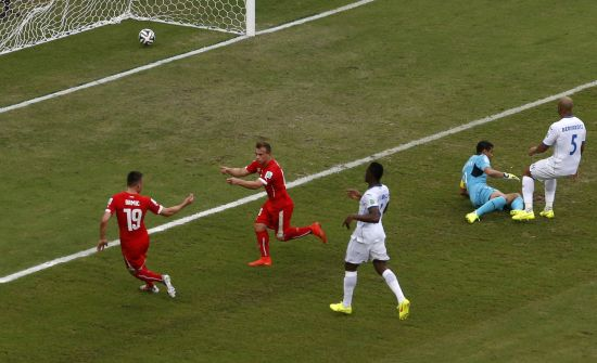 Switzerland's Xherdan Shaqiri celebrates his second goal