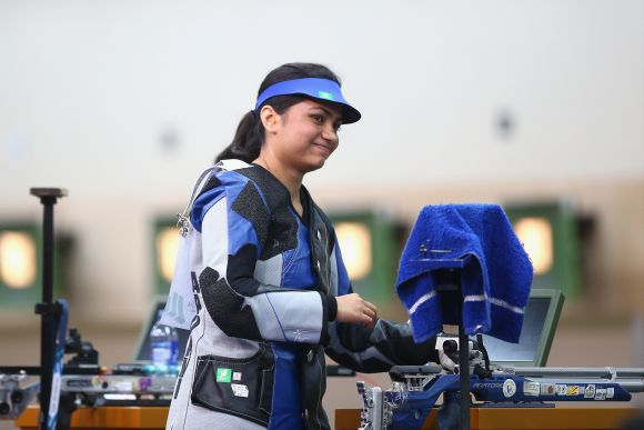 Apurvi Chandela of India celebrates winning the Gold Medal in the Women's 10m Air Rifle Shooting at Barry Buddon Shooting Centre during day three of the Glasgow 2014 Commonwealth Games