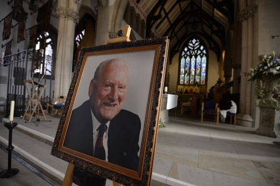 A portrait of former Preston and England soccer player Tom Finney is displayed in a church ahead of his funeral at Preston Minster,