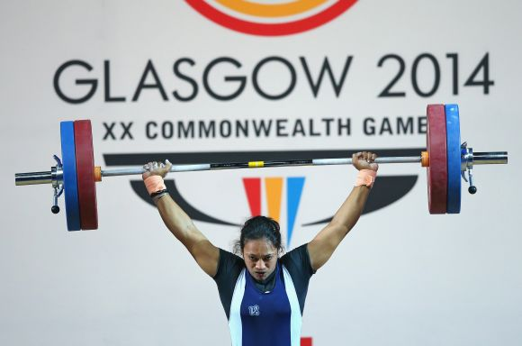 unam Yadav of India competes on her way to winning bronze in the Women's Weightlifting 63kg category