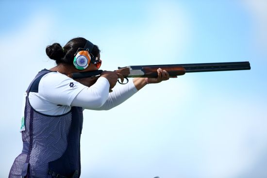 Shreyasi Singh of India in action during the Women's Double Trap final at Barry Buddon Shooting Centre