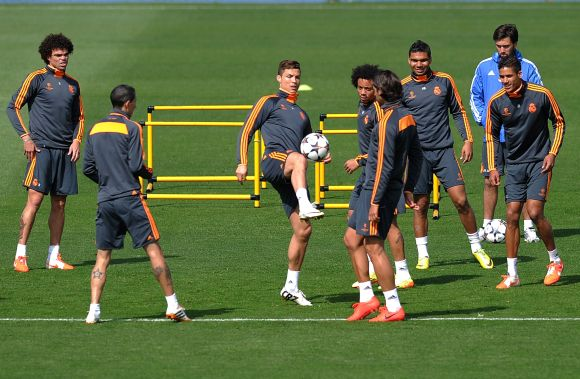 Real Madrid players during a practice session