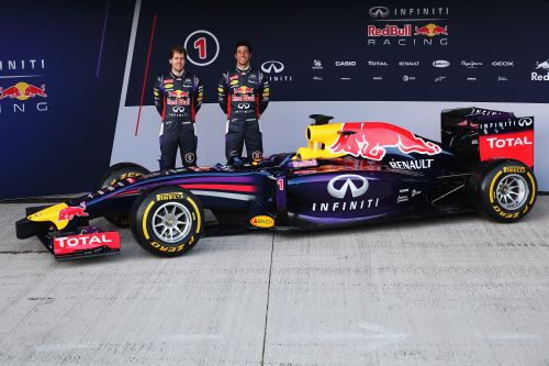 Infiniti Red Bull Racing drivers Sebastian Vettel (L) of Germany and Daniel Ricciardo (R) of Australia attend the launch of their new RB10 Formula One car