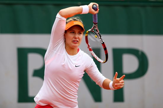 Eugenie Bouchard of Canada returns a shot during her women's singles match against Julia Goerges of Germany