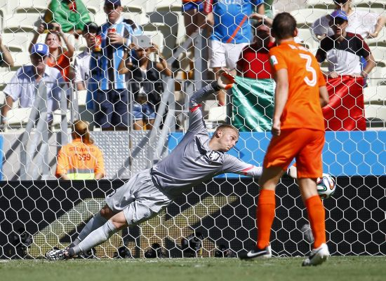 Goalkeeper Jasper Cillessen of the Netherlands tries to stop