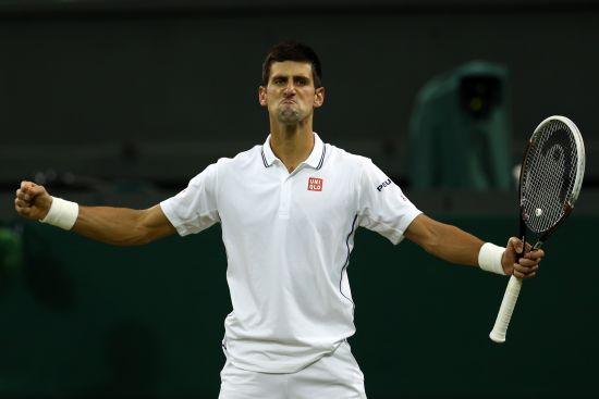 Novak Djokovic of Serbia celebrates winning his Gentlemen's Singles fourth round match
