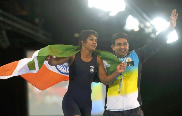 Babita Kumari celebrates after winning gold