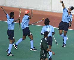 Jugraj Singh celebrates a goal against Pakistan in the Sydney tri-nation tourney