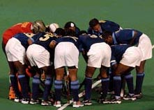 The Indian team in a huddle