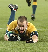 Timing is everything, as Stirling Mortlock showed when he intercepted a Kiwi pass and scored this try