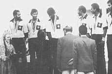 The 1980 Indian hockey team on the podium