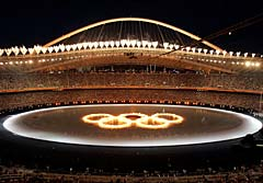 The Olympic rings are seen during the opening ceremony of the Athens Olympic Games