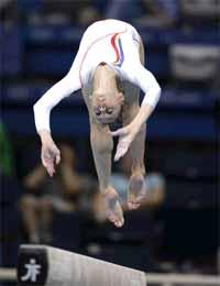 Romania's Daniela Nicoleta Sofronie performs on the balance beam