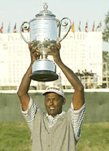 Vijay Singh holds the Wanamaker Trophy after winning the 86th PGA Championship at Whistling Straits in Kohler, Wisconsin
