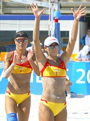 China's Jia Tian (R) and Fei Wang (L) jubilate after winning the second round beach volleyball match