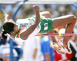 J J Shobha in the high jump of the heptathlon