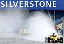 Test driver Timo Glock tests the new Jordan Ford EJ14 car at the Silverstone race track
