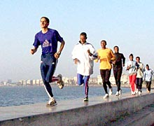 Richard Nerurkar (left) puts the Ethiopians through their paces at Marine Drive, Mumbai