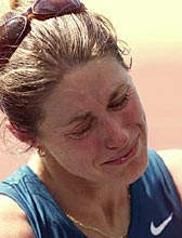 Jane Saville in tears after being disqualified from the women's 20 km walk finals at the Sydney Olympic Games