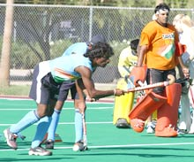 Pillay and goalkeeper Devesh Chauhan in training in Arizona