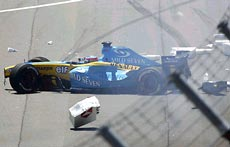 Spaniard Fernando Alonso, in a Renault, crashed on the start-finish straight.