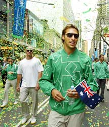 Swimmer Ian Thorpe at the ticker parade