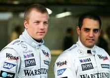 Kimi Raikkonen (left) with Juan Pablo Montoya